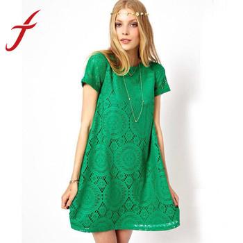 Feitong 5 цвета Vestidos Femininos женщина свободного покроя платье 2015 летом с коротким рукавом о-образным вырезом Большой размер кружевном платье Vestido де ренда