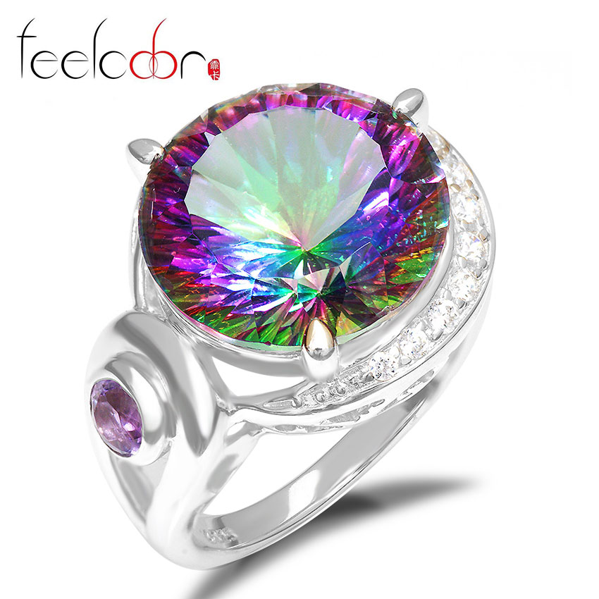 2014 Brand New 14.5ct Genuine Rainbow Fire Mystic Topaz Solid 925 Sterling Silver Ring Vintage Accessories Hot Sale Promotion<br><br>Aliexpress