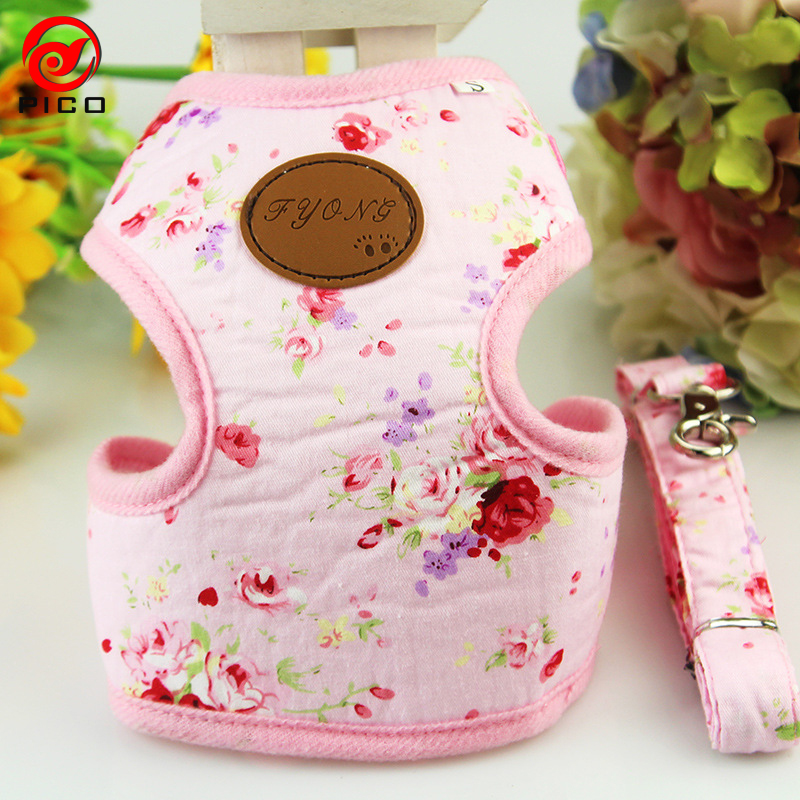 Hot sale service dog vest pet accessories puppy leads luxury small dog harness flower print dog collar and leash set ZL287(China (Mainland))
