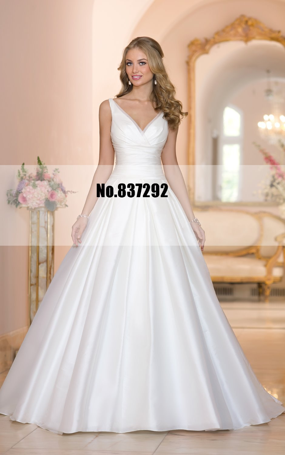 Elegant v neck a line vintage wedding dresses plus size for Vintage wedding dresses plus size