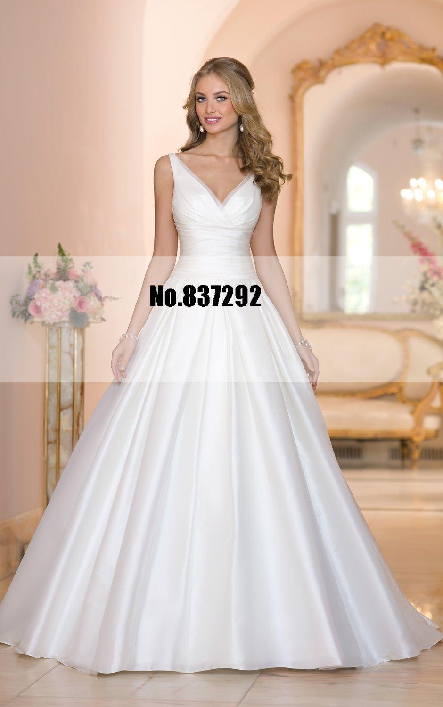 Elegant v neck a line vintage wedding dresses plus size for Retro wedding dresses plus size