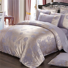 Purple flowers Satin Silk Jacquard Bedding Set Home Textile 4pc Luxury bedclothes bed linen sheet set cotton queen king Size(China)