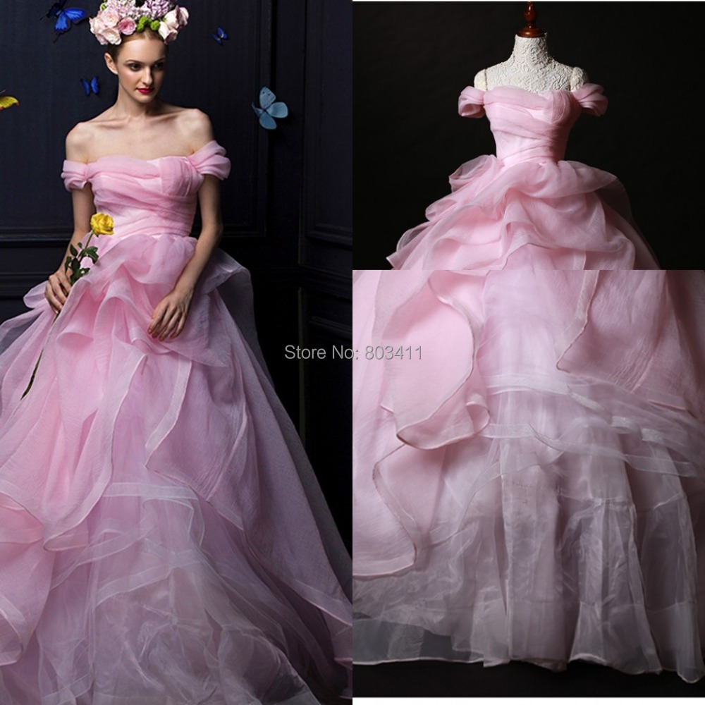 Buy 2014 winter off the shoulder pink for Bubble skirt wedding dress