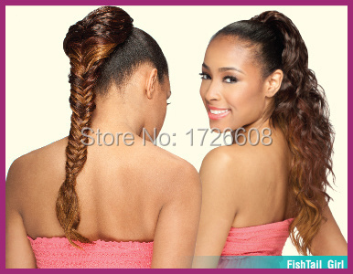 Clip on Synthetic Hair Fishtail Plait Ponytail Long Braid Ponytails 22inch(China (Mainland))