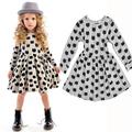 Girls Cotton Dress 2016 New Autumn Kids Cat Dress Children Elastic Dress Toddler Clothes Baby Infant