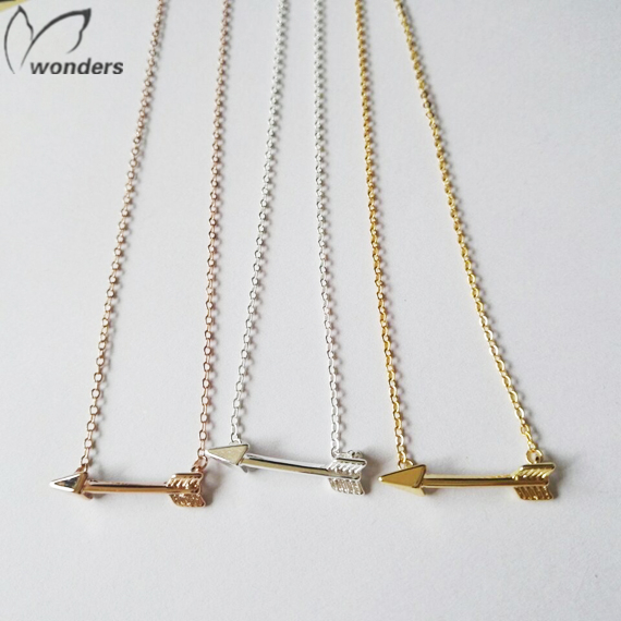 2015 Metalwork Silver Minimalist Jewelry Bridesmaid Gift Silver Rose Gold Hunger Games Arrow Necklace Pendants For Women Men(China (Mainland))