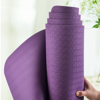 Single Color TPE Yoga Mat 6mm Thick Exercise Mat Yoga Supplies Fitness Non-slip Without Logo 184*63*0.6 cm With Bag