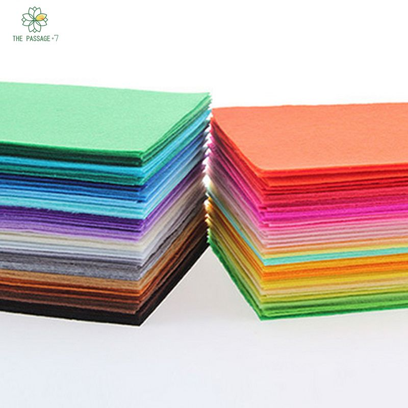 Polyester felt fabric cloth diy handmade sewing hot home decor material thickness 1mmmix 40 Colors 15x15cm 5.9x5.9 inch M-40S(China (Mainland))