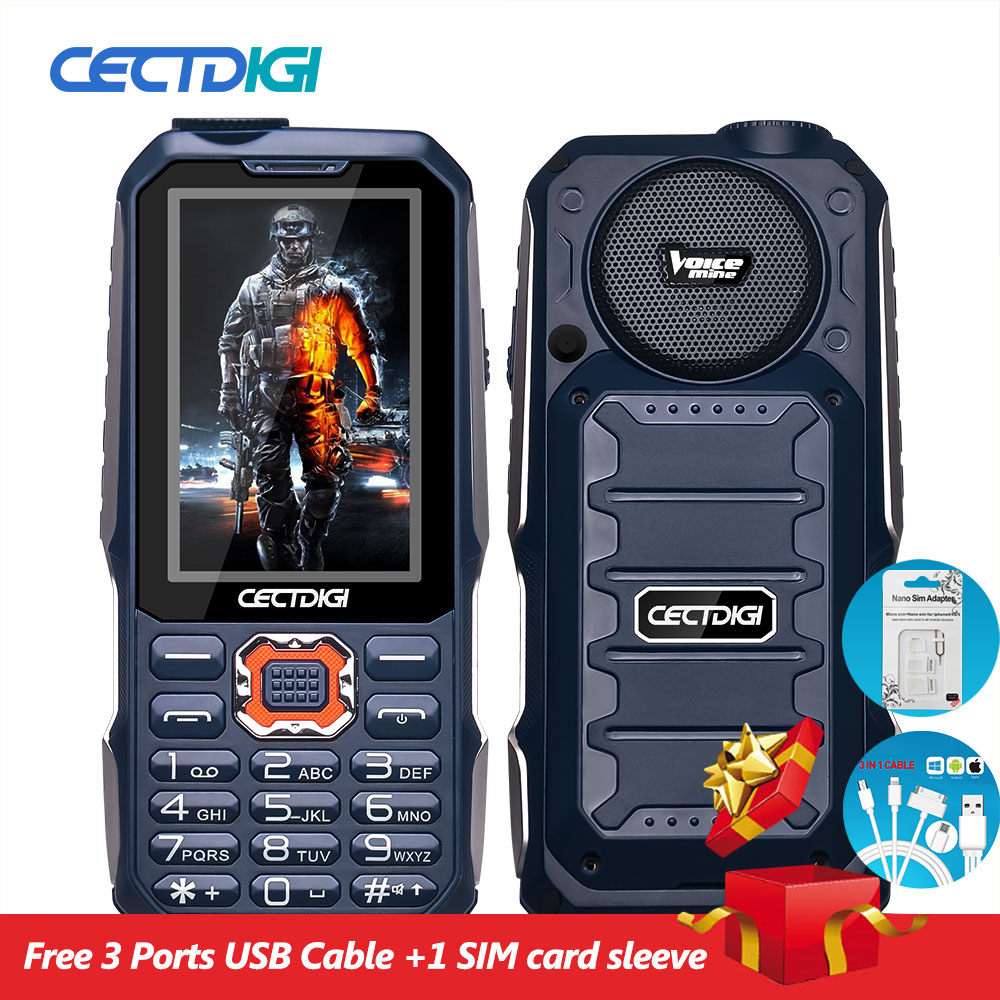 3 Sim Card Phone Cectdigi T19 3D Stereo Speaker outdoor Rugged Mobile Phone Power Bank Wireless FM 16:9 HD Russian Keyboard Cell(China (Mainland))