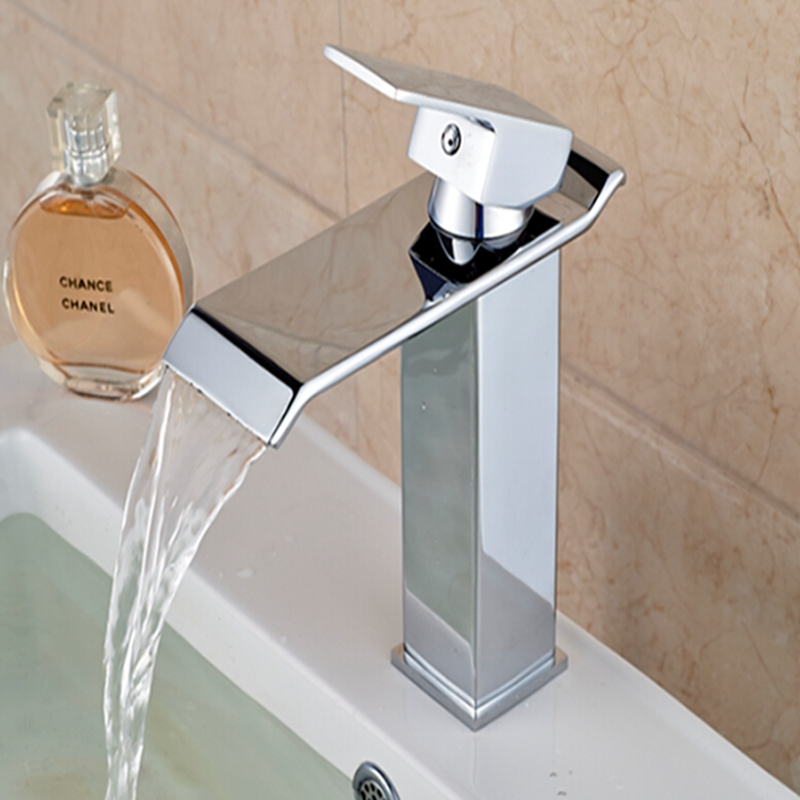 Wholesale And Retail Free Shipping Hot Sale Waterfall Bathroom Basin Faucet Waterfall Spout Sink Mixer Tap Hot Cold Mixer(China (Mainland))