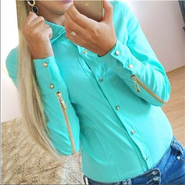 new fashion autumn blouse made fashion blouses with zipper at sleeve for women 2015 blusas(China (Mainland))