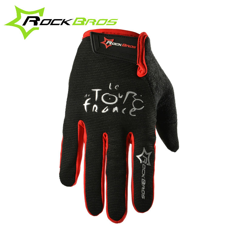 RockBros Tour de France MTB High Quality Breathable Bicycle Cycling Touch Screen Ciclismo Bike Sport Full Finger Gloves 3 Colors(China (Mainland))