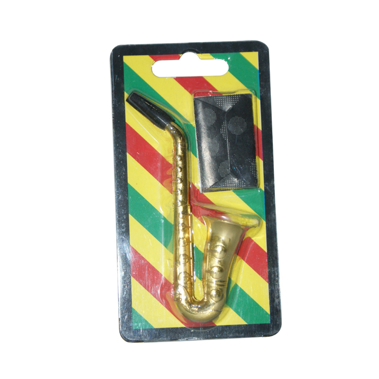 1pc Small Saxophone Metal Smoking Tobacco Pipe weed herb tobacco Wood snuff snorter cleaners mouth tips(China (Mainland))