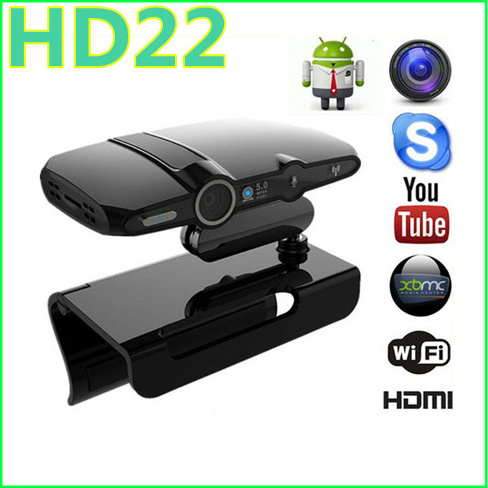 New! 5.0MP and Mic Android TV BOX camera HDMI 1080P 1GB/8GB android 4.2 skype Google Android TV box HD22 + Measy RC11 Air Mouse(China (Mainland))