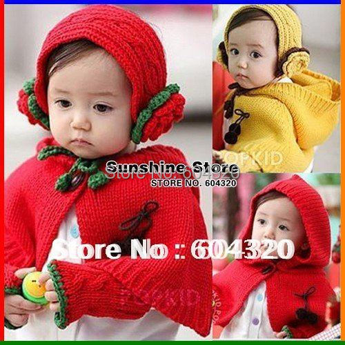 baby kids winter hats scarf Girl Earmuff/headband+Shoulder Shawl /cloak+Gloves Set chapeu infantil #2C2600  5 set/lot (2 colors)