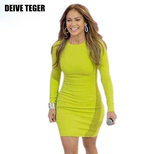 DEIVE TEGER Free shipping 2015 New lemon yellow long sleeve bandage dress fashion dress Club dress HL496