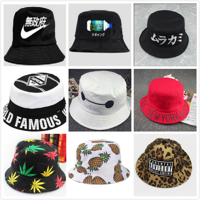 2015 women hot outdoor fishing sun hat letter floral fisherman panama cap bob chapeau cotton brand summer bucket hat men hip hop(China (Mainland))