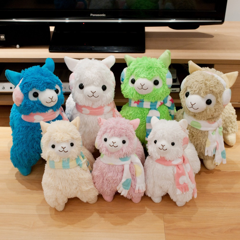 "Free Shipping 14"" Arpakasso Alpacasso Alpaca Plush Toys Doll With Scarf & Earphone Kawaii Sheep Stuffed Toys 7 Colors(China (Mainland))"