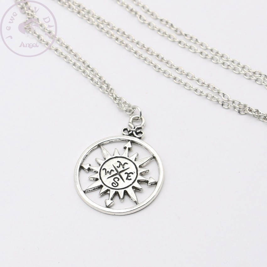 2015 Tibetan Silver Compass Anchor Charm Pendant Necklace Chains Necklace Jewelry Gift for Her Jewelry Making DIY 50cm(China (Mainland))