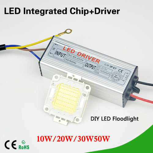1Set Real Full Watt 10W 20W 30W 50W High Power COB LED lamp Beads Chips Bulb with LED Driver For DIY Floodlight Spot light Lawn(China (Mainland))