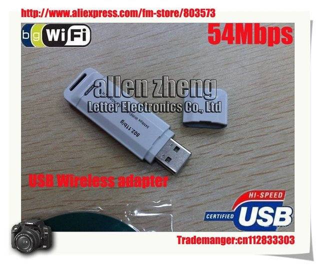 DHL Free shipping Wifi adapter USB 802.11G 54M Wireless lan Adapter 50pcs/lot