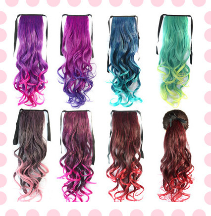 18 inch synthetic ponytail curly hair extension colored
