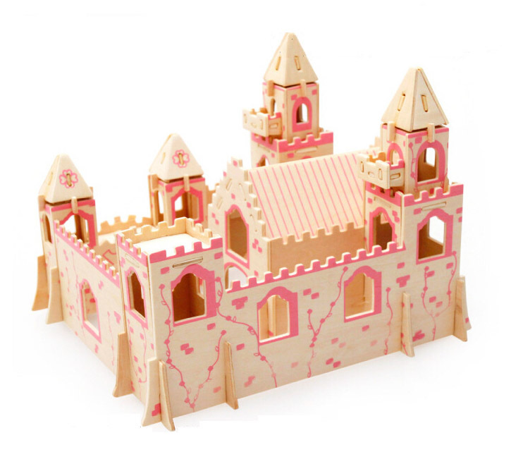 3D Princess in the Castle Woodcraft Construction Kit Wood Model children education toys(China (Mainland))