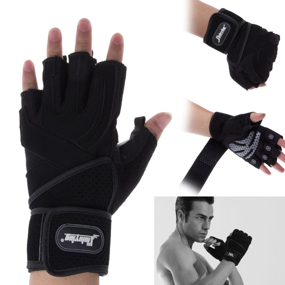 Гаджет  Gym Body Building Training Grip Wrist Wrap Exercise Gym Weight Lifting Sport Mesh Half Finger Gloves None Спорт и развлечения