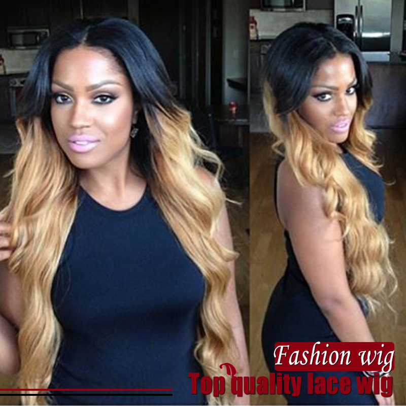 Free Shipping ombre Wig Synthetic Lace Front Wigs Two Tone Color #1B honey blonde wig Heat Resistant Synthetic Hair Wigs<br><br>Aliexpress