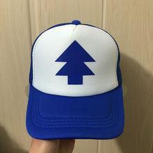 Boy Girls hats BLUE PINE TREE Trucker snapback Caps Cartoon New Curved Bill Dipper children Gravity Falls Trucker Cap kids(China (Mainland))