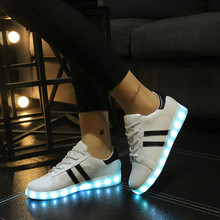 Led shoe female luminous breathable women's USB charge colorful lights Noctilucent casual Shoes For Adults F0190