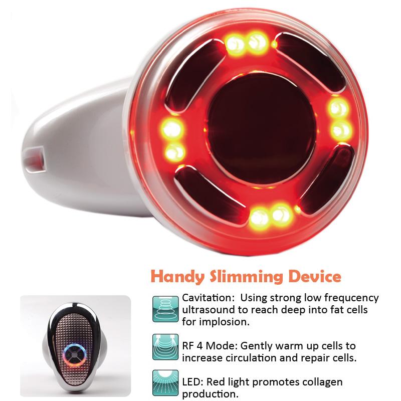 Mini Handheld RF Slimming Beauty Device Ultrasonic Cavitation LED Light Photon Body Slimming Massager Free Shipping(Hong Kong)