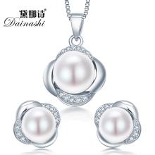 Dainashi стерлингового серебра 925 комплект ювелирных изделий серьги/ожерелье ювелирные изделия перлы для женщин стерлингов-серебро-ювелирные наборы подарочная коробка(China (Mainland))