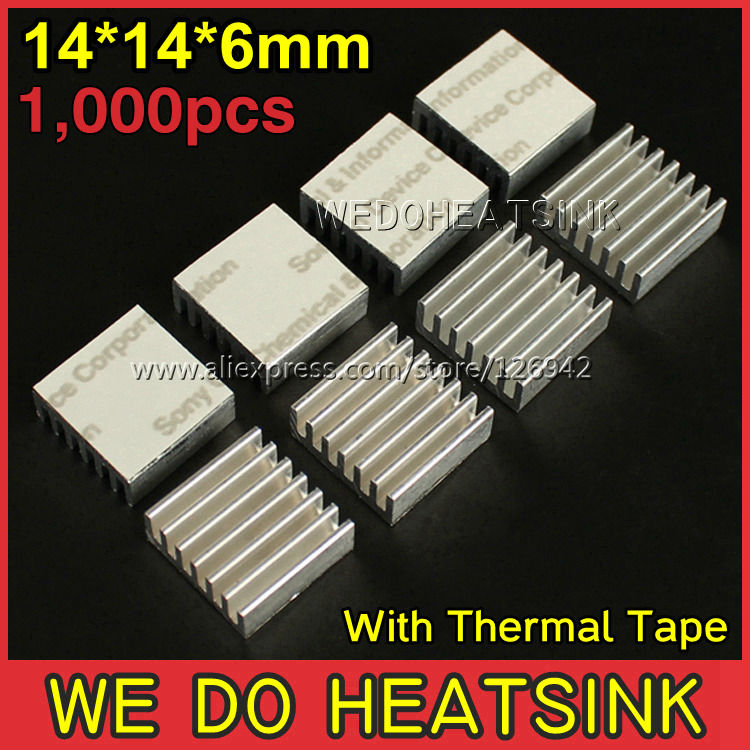 Free Shipping 1,000Pcs/Lot 14*14*6mm Extruded Aluminum Radiator Extrusion Heatsink Cooling With Thermal Conductive Tape