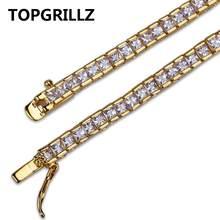 4mm רוחב כיכר טניס צמיד Zirconia תכשיטי Hiphop 1 שורה בלינג CZ גברים/נשים אופנה קסם זהב כסף צבע צמידי מתנה(China)