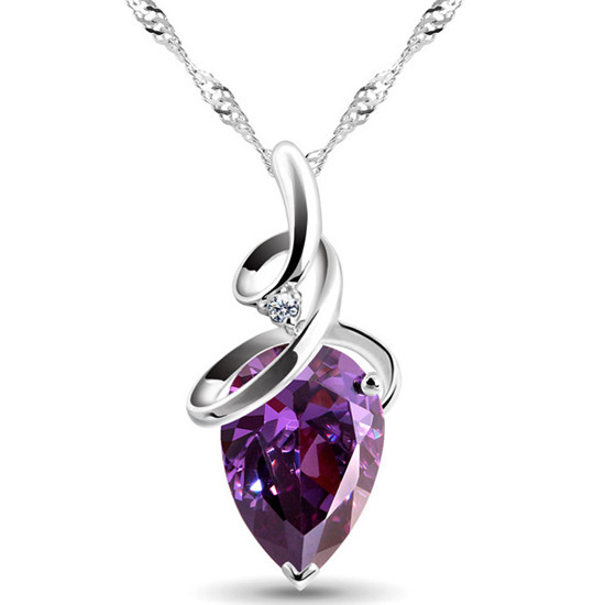 Fashion 3 Colors Austrian Crystal Jewelry Water Drop Pendants&Necklaces Silver Plated Chain Necklace Jewelry For Women
