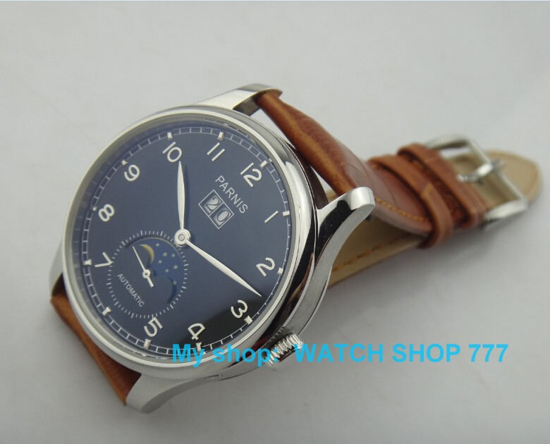 44mm PARNIS moon shows watches men 2105 new fashion Automatic mechanical men's watch - Watch shop 777 store
