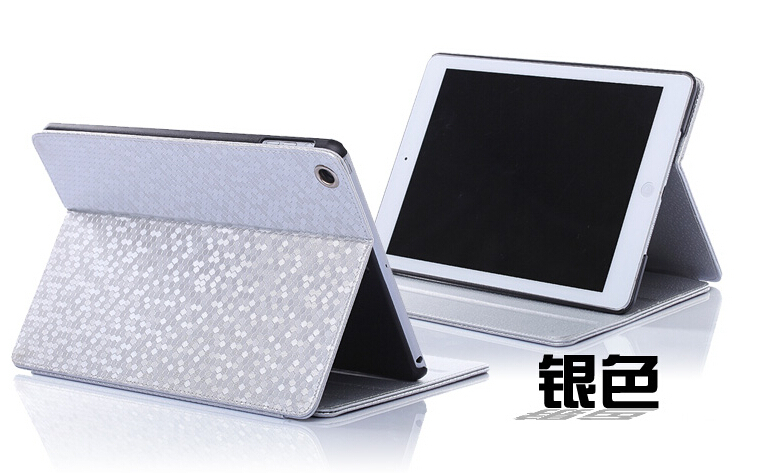 Fashion For Ipad Mini 1/2/3 Diamond Pattern Flip Leather Case Cover Glitter Simple Smart Stand Leather Case Free Shipping(China (Mainland))
