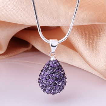 Shamballa Beads Austrian Crystal Water Drop Pendant Necklace Birthday Gifts Promotional Health Care Free Shipping Jewelry N052
