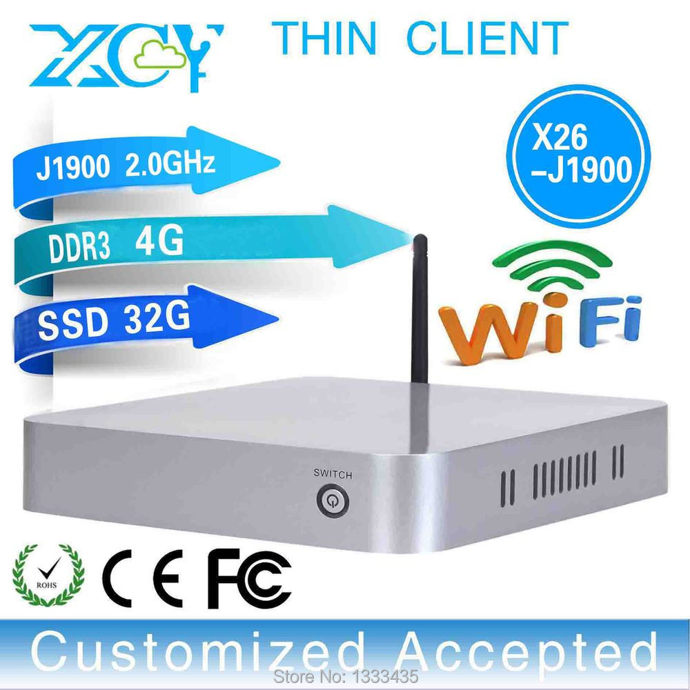 With high-powered CPU and Graphics Card optiplex Pc X26-j1900 quad-core thin client Mini pc linux computer 4g ram 32g ssd(China (Mainland))