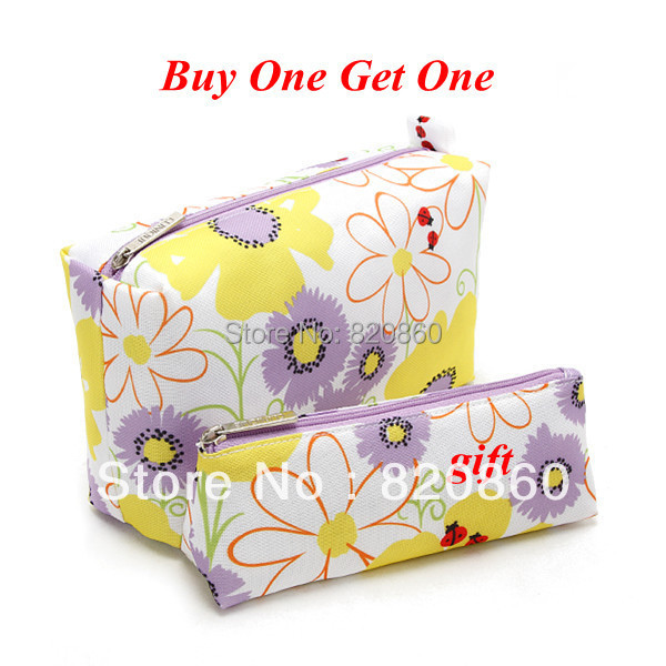 Brand flowers cosmetic bag for women ladies fashion cosmetic case high capacity wash bag(China (Mainland))