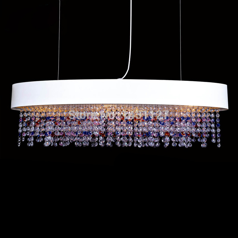 Free Shipping AOLI Oval Design Modern Crystal Chanderlier Lustres pendents Lamp For Dining Room L90*W20*H100CM Hanging Lighting(China (Mainland))
