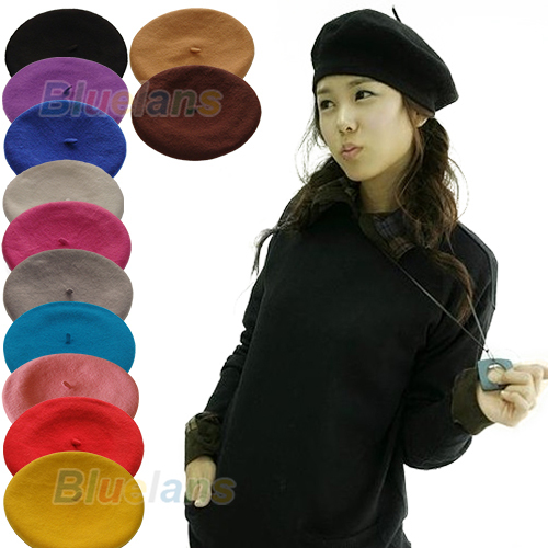 Bluelans New Fashion Solid Color Warm Wool Winter Women Girl Beret French Artist Beanie Hat Ski Cap 12 Colors(China (Mainland))