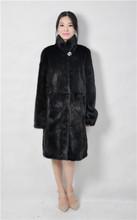 2016 winter woman fashion real fur mink coat,stand collar 90cm length,genuine leather mink fur coat