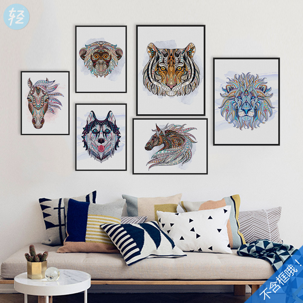 Ethnic Style Watercolor Canvas Painting Art HD Print Africa Horse Deer Head Wall Picture Home Decoration Modern Home Decor