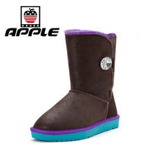 Apple de La Nueva Manera de Las Mujeres Botas de Nieve de Invierno Zapatos Calientes Zapatos Cómodos Clásicos de la Nieve de Invierno Para Las Señoras(China (Mainland))