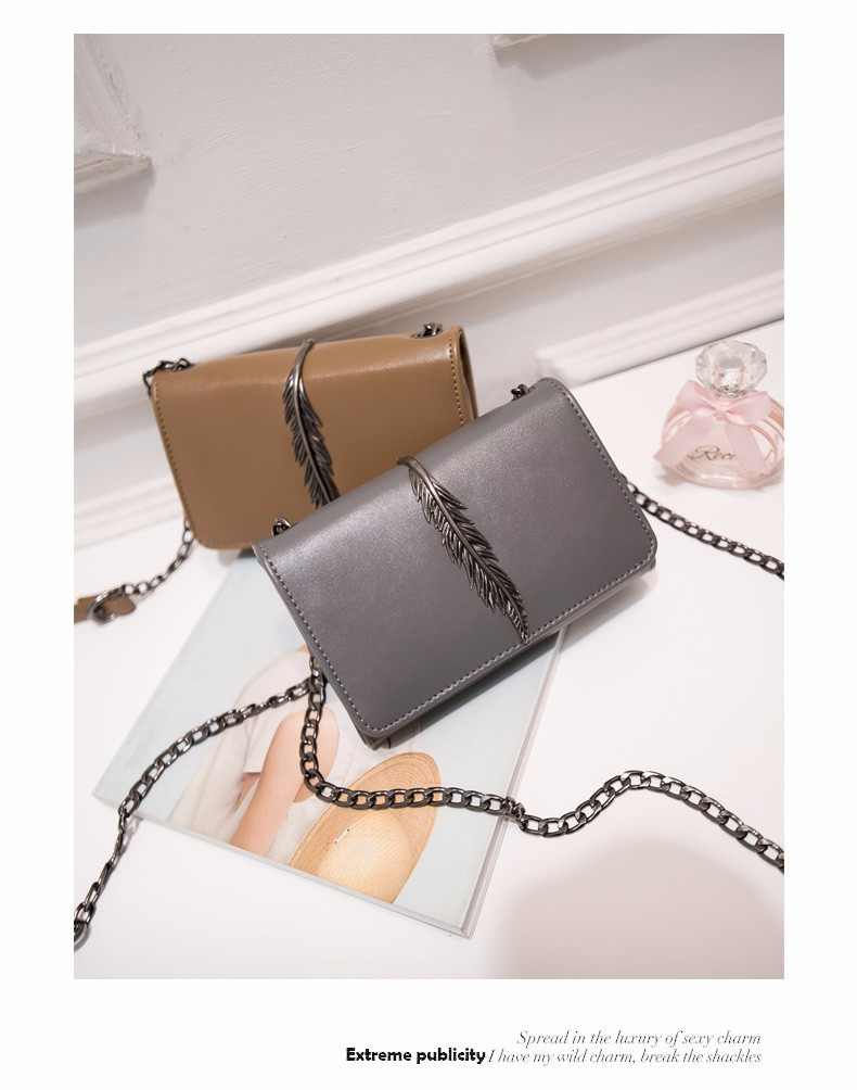 Metallic Leaf Stylish Crossbody Bag Women Casual Simple Chain Bag Classy Black Grey PU Hand Bag Lady Designer Flap Shoulder Bag