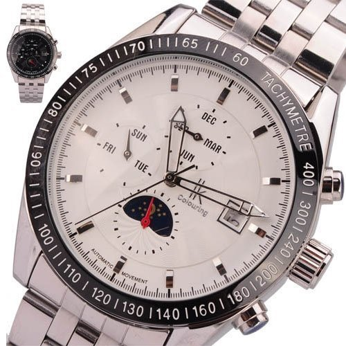 Parnis Luxury Moon Phase Automatic Mechanical White Dial Silver Watch - parnis store