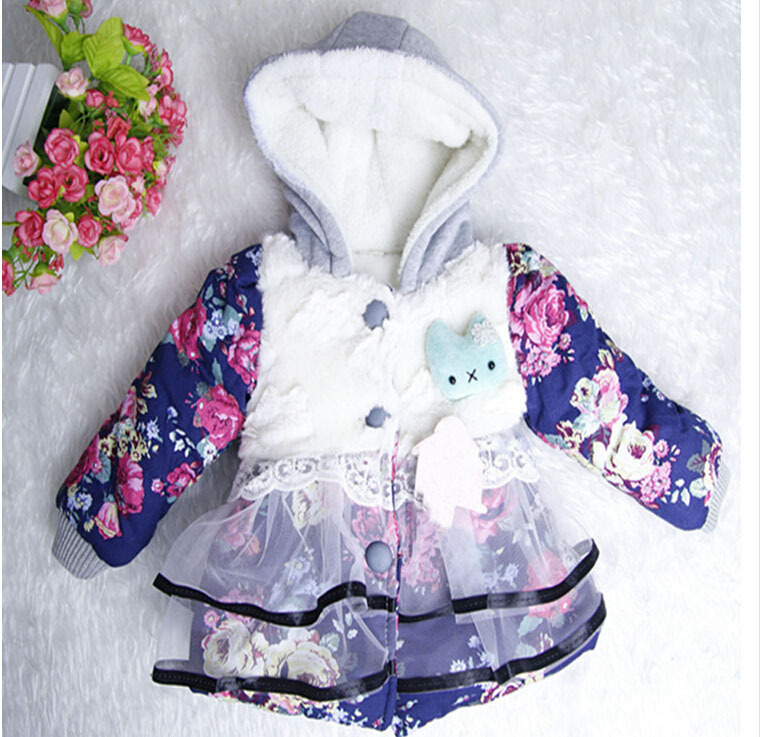 2T kids winter coats jackets girls fur coat cardigan baby clothing tops child sweatershirts outwear floral plus size 2015 new - Lucky Dog's House store