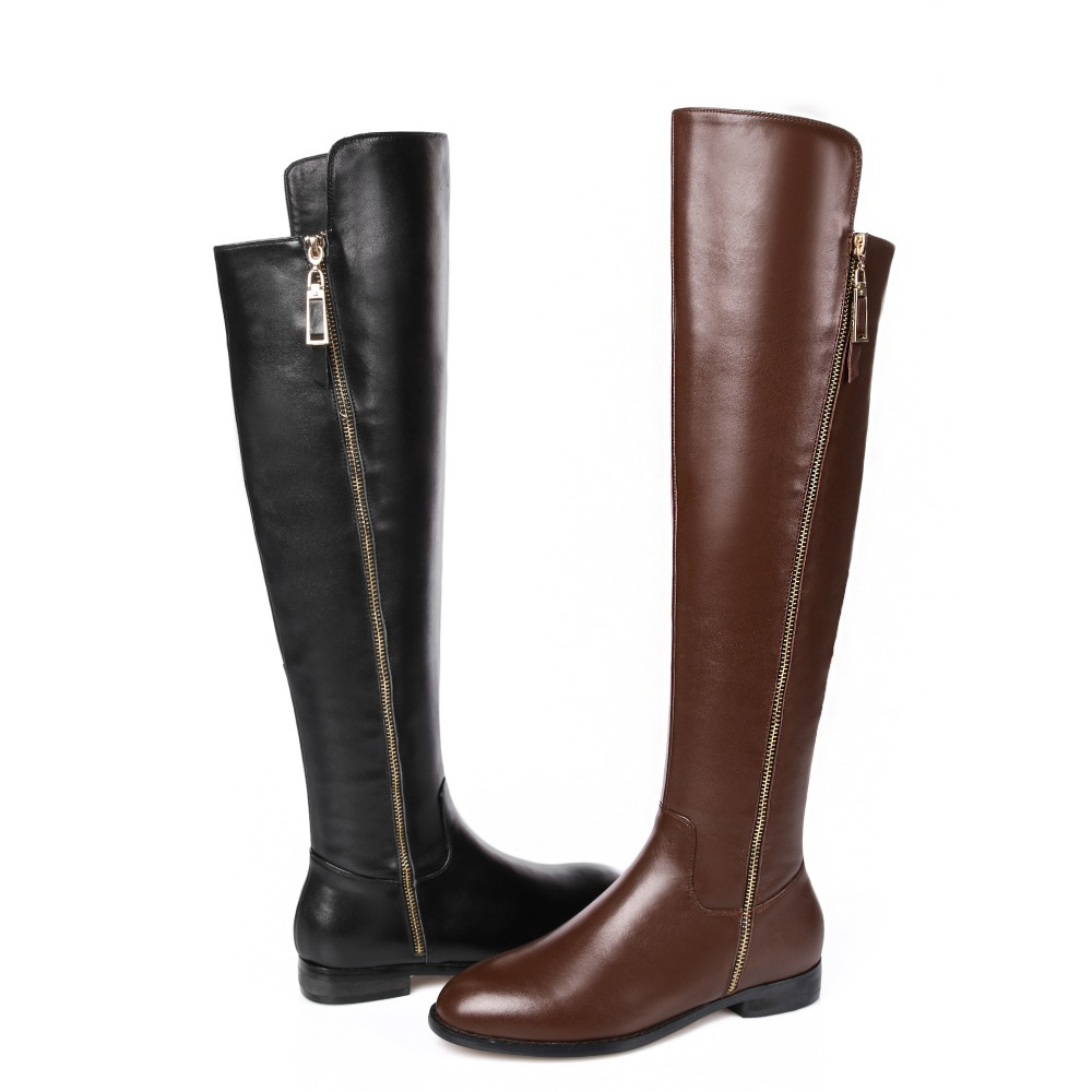2015 winter Autumn New Side Zipper Knee Boots Women Solid Colors Square Heels Comfortable Knee Boots size 34-39 R1224